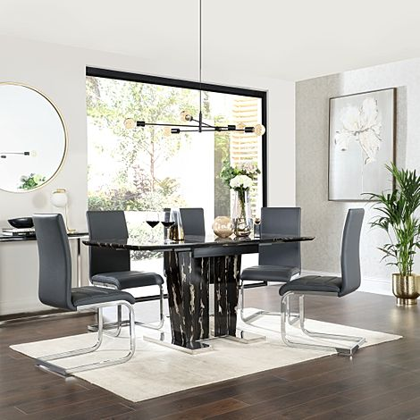Vienna Black Marble Extending Dining Table with 6 Perth Grey Leather Chairs