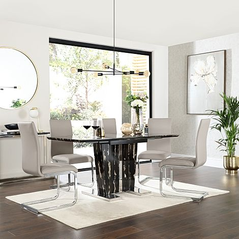 Vienna Black Marble Extending Dining Table with 4 Perth Stone Grey Leather Chairs