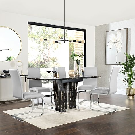 Vienna Black Marble Extending Dining Table with 6 Perth Light Grey Leather Chairs