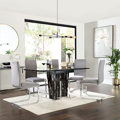 Vienna Black Marble Extending Dining Table with 4 Perth Grey Velvet Chairs