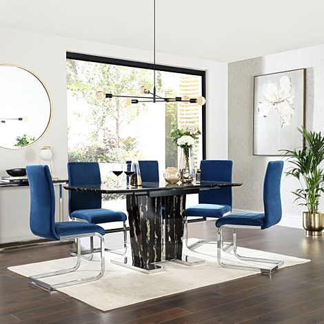 Vienna Black Marble Extending Dining Table with 6 Perth Blue Velvet Chairs