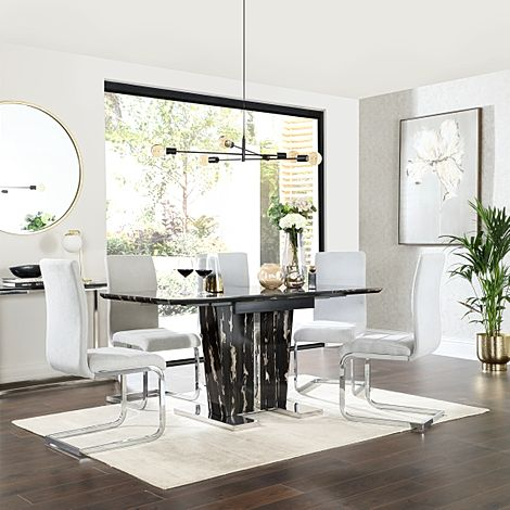 Vienna Black Marble Extending Dining Table with 6 Perth Dove Grey Fabric Chairs