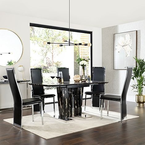 Vienna Black Marble Extending Dining Table with 6 Celeste Black Leather Chairs