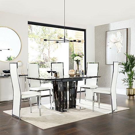 Vienna Black Marble Extending Dining Table with 4 Celeste White Leather Chairs