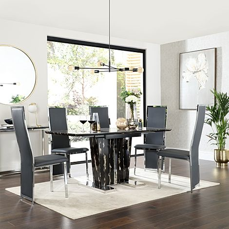 Vienna Black Marble Extending Dining Table with 6 Celeste Grey Leather Chairs
