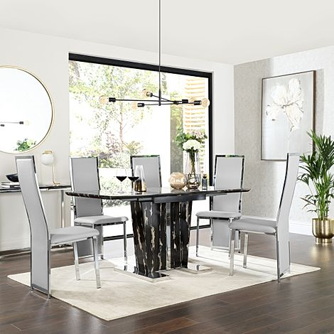 Vienna Black Marble Extending Dining Table with 6 Celeste Light Grey Leather Chairs