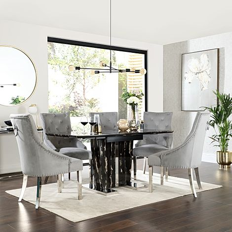 Vienna Black Marble Extending Dining Table with 6 Imperial Grey Velvet Dining Chairs