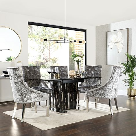 Vienna Black Marble Extending Dining Table with 4 Imperial Silver Velvet Dining Chairs