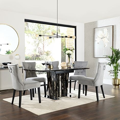 Vienna Black Marble Extending Dining Table with 6 Kensington Grey Velvet Dining Chairs
