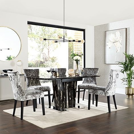 Vienna Black Marble Extending Dining Table with 6 Kensington Silver Velvet Dining Chairs