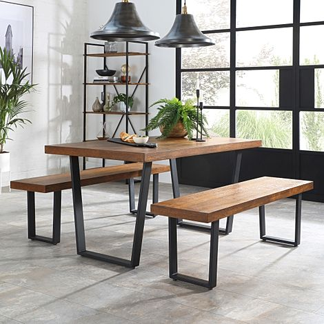 Addison Industrial Oak Dining Table and 2 Benches