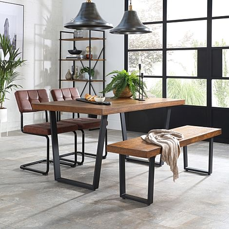Addison 150cm Industrial Oak Dining Table and Bench with 2 Carter Tan Leather Chairs