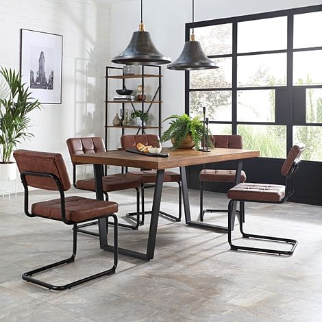 Addison Industrial Oak Dining Table with 6 Carter Tan Leather Chairs