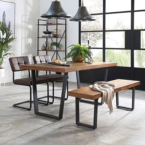 Addison 150cm Industrial Oak Dining Table and Bench with 2 Carter Vintage Brown Leather Chairs