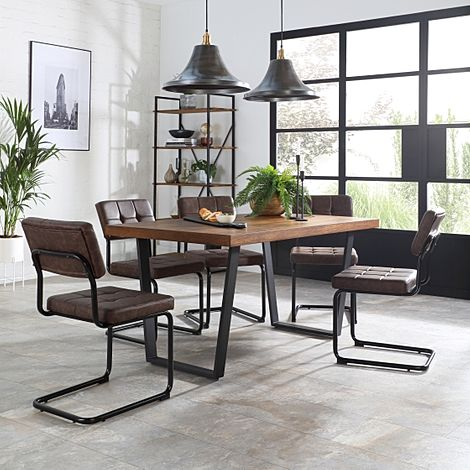 Addison 150cm Industrial Oak Dining Table with 4 Carter Vintage Brown Leather Chairs