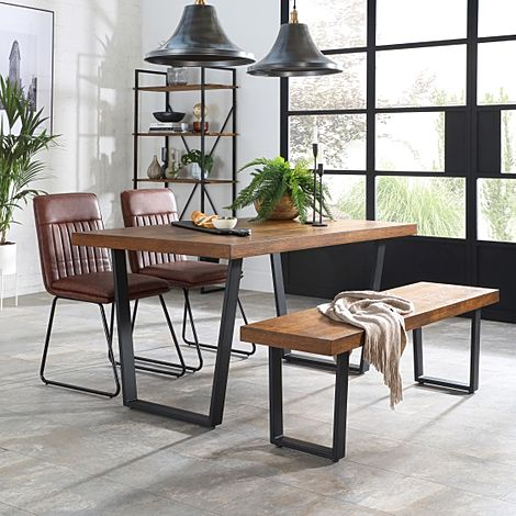 Addison Industrial Oak Dining Table and Bench with 4 Flint Tan Leather Chairs