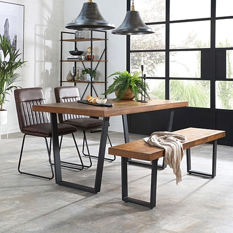 Addison Industrial Oak Dining Table and Bench with 2 Flint Vintage Brown Leather Chairs