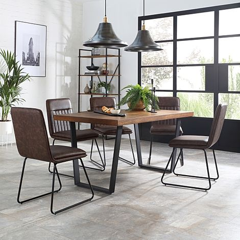Addison Industrial Oak Dining Table with 6 Flint Vintage Brown Leather Chairs
