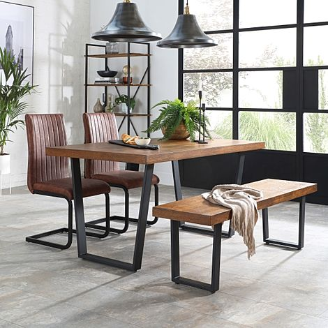 Addison Industrial Oak Dining Table and Bench with 2 Perth Tan Leather Chairs
