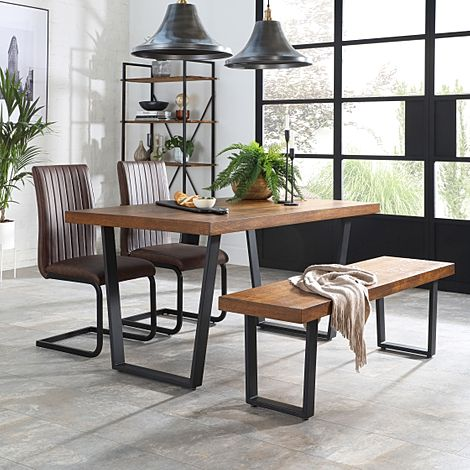 Addison Industrial Oak Dining Table and Bench with 2 Perth Vintage Brown Leather Chairs