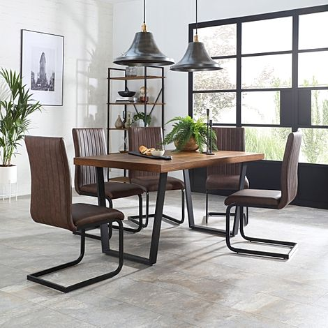 Addison 150cm Industrial Oak Dining Table with 6 Perth Vintage Brown Leather Chairs