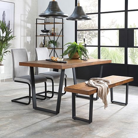 Addison Industrial Oak Dining Table and Bench with 4 Perth Grey Velvet Chairs