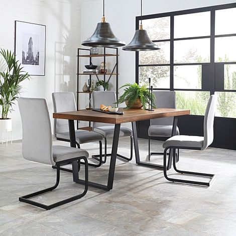 Addison Industrial Oak Dining Table with 6 Perth Grey Velvet Chairs
