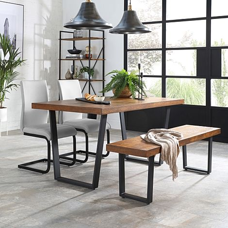 Addison 150cm Industrial Oak Dining Table and Bench with 2 Perth Light Grey Leather Chairs