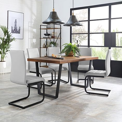 Addison Industrial Oak Dining Table with 6 Perth Light Grey Leather Chairs