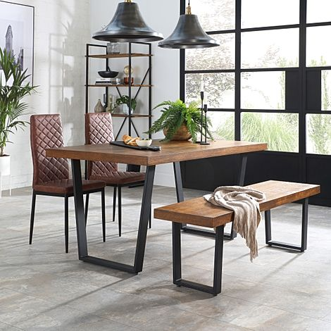 Addison Industrial Oak Dining Table and Bench with 4 Renzo Tan Leather Chairs