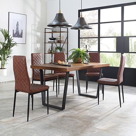 Addison Industrial Oak Dining Table with 4 Renzo Tan Leather Chairs