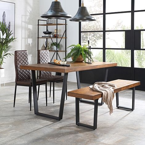 Addison Industrial Oak Dining Table and Bench with 4 Renzo Vintage Brown Leather Chairs