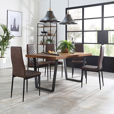 Addison Industrial Oak Dining Table with 4 Renzo Vintage Brown Leather Chairs