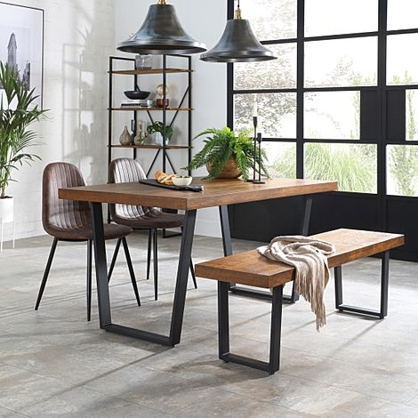 Addison Industrial Oak Dining Table and Bench with 2 Brooklyn Vintage Brown Leather Chairs