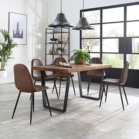 Addison Industrial Oak Dining Table with 6 Brooklyn Brooklyn Vintage Brown Leather Chairs