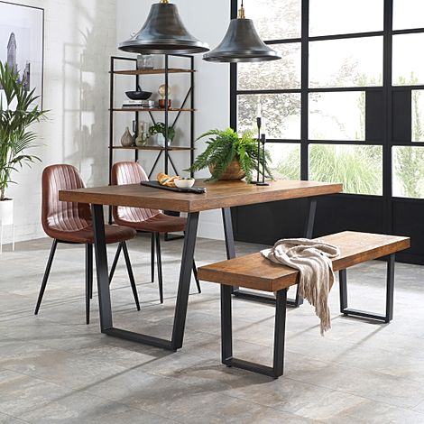 Addison Industrial Oak Dining Table and Bench with 2 Brooklyn Tan Leather Chairs