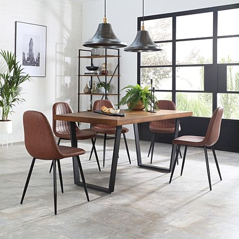 Addison Industrial Oak Dining Table with 6 Brooklyn Tan Leather Chairs