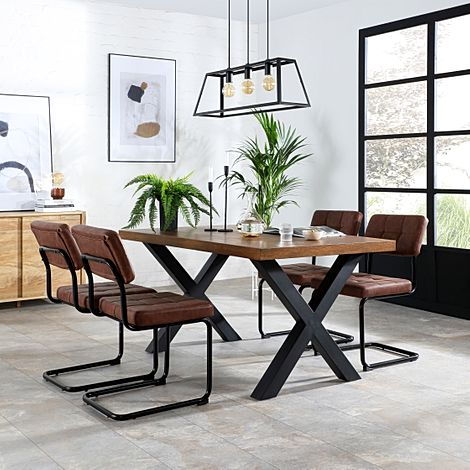 Franklin Industrial Oak Dining Table with 4 Carter Tan Leather Chairs