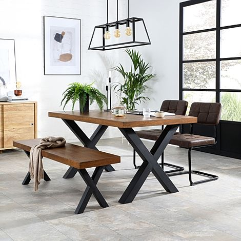 Franklin Industrial Oak Dining Table and Bench with 2 Carter Vintage Brown Leather Chairs