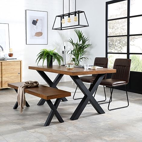 Franklin 150cm Industrial Oak Dining Table and Bench with 2 Flint Vintage Brown Leather Chairs
