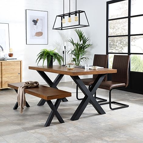 Franklin Industrial Oak Dining Table and Bench with 2 Perth Vintage Brown Leather Chairs