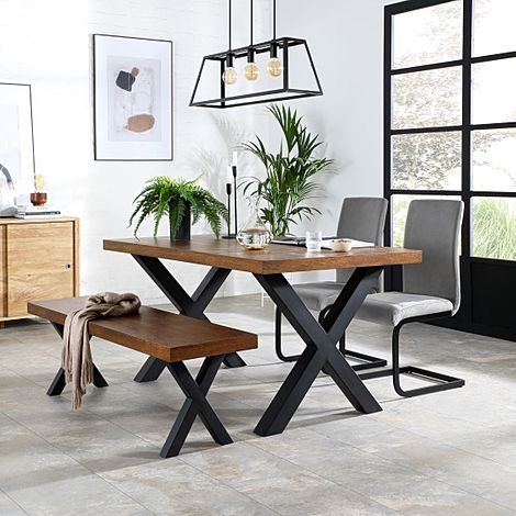 Franklin Industrial Oak Dining Table and Bench with 2 Perth Grey Velvet Chairs