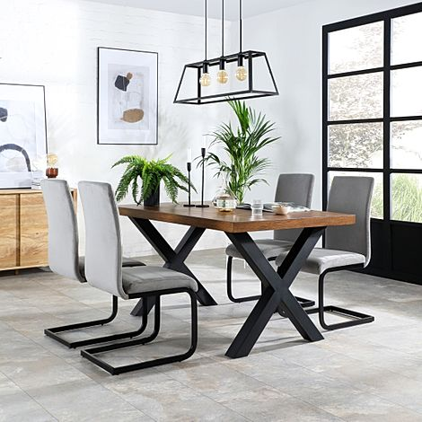 Franklin Industrial Oak Dining Table with 4 Perth Grey Velvet Chairs