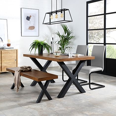 Franklin Industrial Oak Dining Table and Bench with 2 Perth Light Grey Leather Chairs
