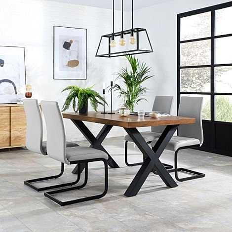 Franklin Industrial Oak Dining Table with 4 Perth Light Grey Leather Chairs