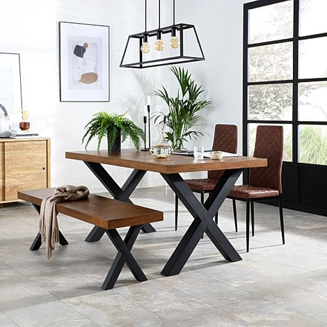 Franklin Industrial Oak Dining Table and Bench with 2 Renzo Tan Leather Chairs