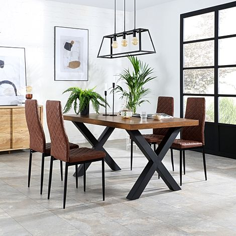 Franklin Industrial Oak Dining Table with 4 Renzo Tan Leather Chairs