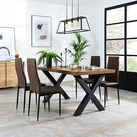 Franklin Industrial Oak Dining Table with 4 Renzo Vintage Brown Leather Chairs