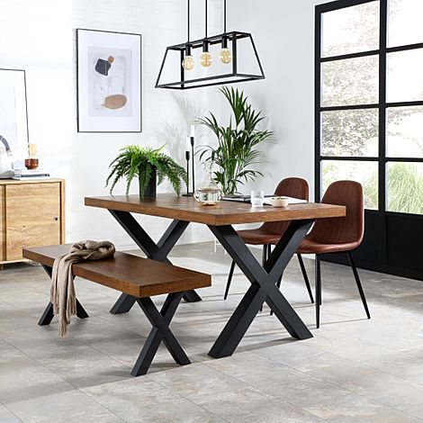 Franklin Industrial Oak Dining Table and Bench with 2 Brooklyn Tan Leather Chairs