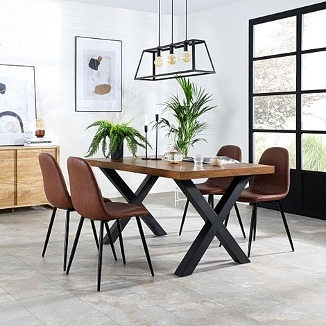 Franklin Industrial Oak Dining Table with 4 Brooklyn Tan Leather Chairs